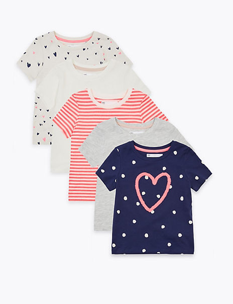 5 Pack Cotton Rich Heart T-Shirts (2-7 Years)