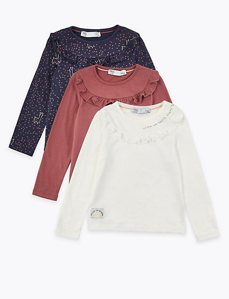 3 Pack Pure Cotton Ruffled Tops (3 Months - 7 Years)