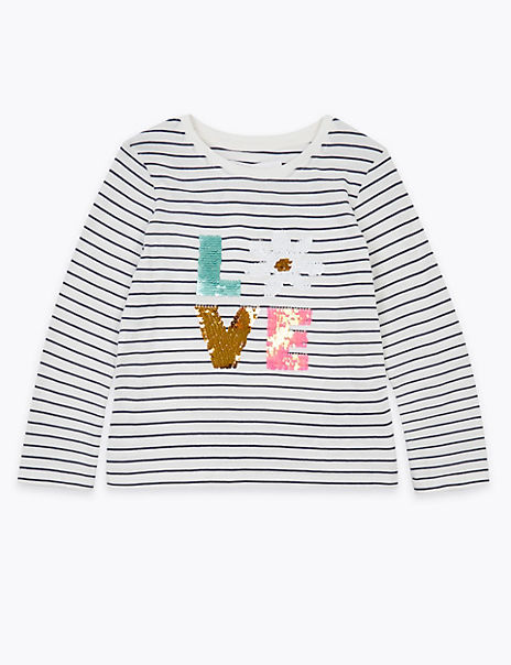 Striped Reversible Sequin Love Top (2-7 Years)