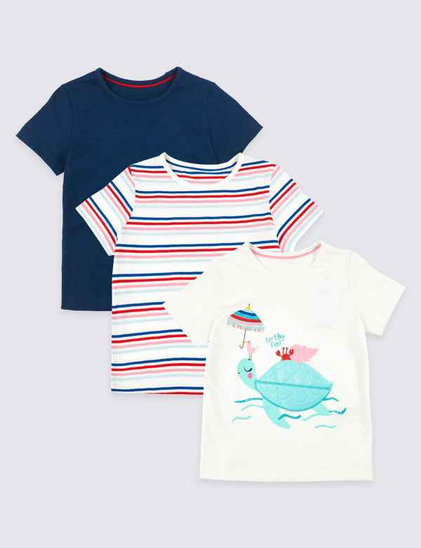 6fdb7a0951d 3 Pack Pure Cotton Turtle T-Shirts (3 Months - 7 Years)