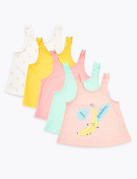 5 Pack Pure Cotton Banana Vests (2-7 Years)