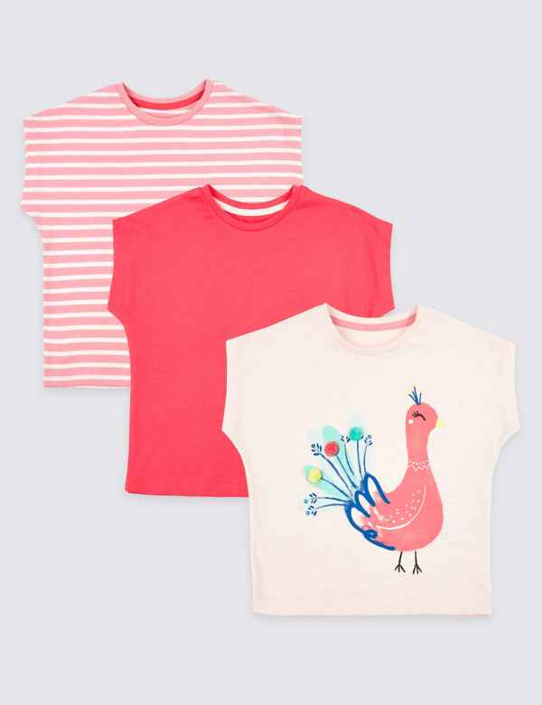 4b689101019 3 Pack Pure Cotton T-Shirts (3 Months - 7 Years)