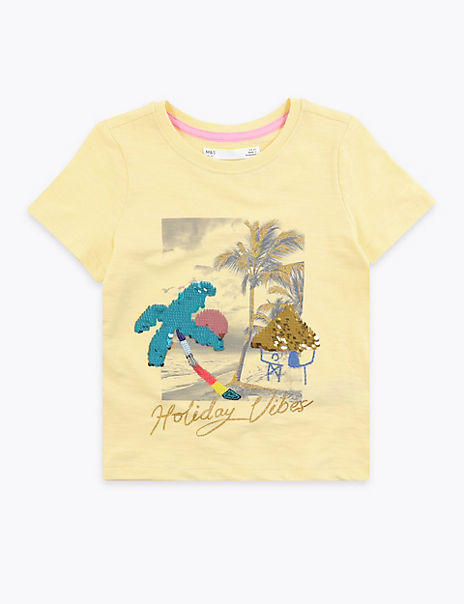 Cotton 'Holiday Vibes' Palm Tree T-Shirt (2-7 Yrs)