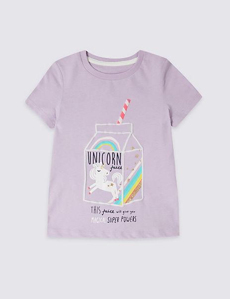 e550dc6ec Pure Cotton Unicorn T-Shirt (3 Months - 7 Years) | M&S