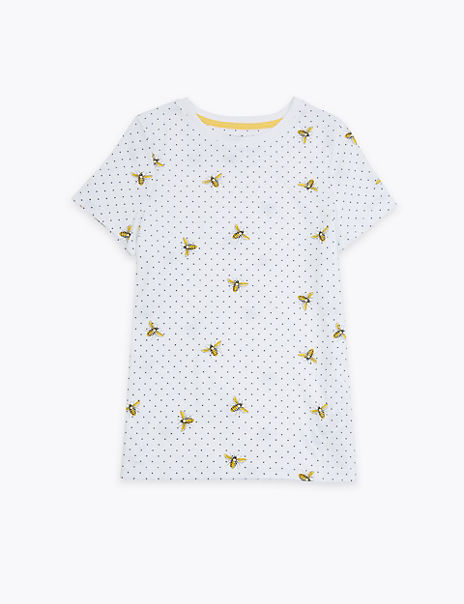 Pure Cotton Bee Print T-Shirt (2-14 Years)