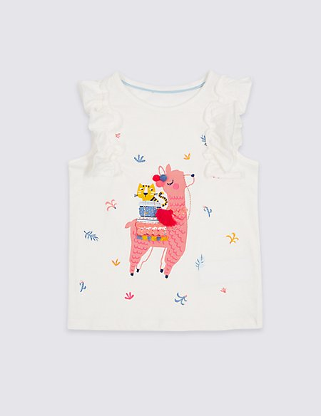 Pure Cotton Llama Top (3 Months - 7 Years)