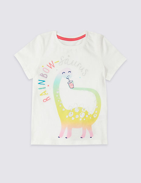 Pure Cotton Rainbow-Saurus T-Shirt (3 Months - 7 Years)
