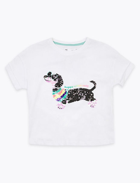 Cotton Sequin Sausage Dog T-Shirt (2-7 Years)