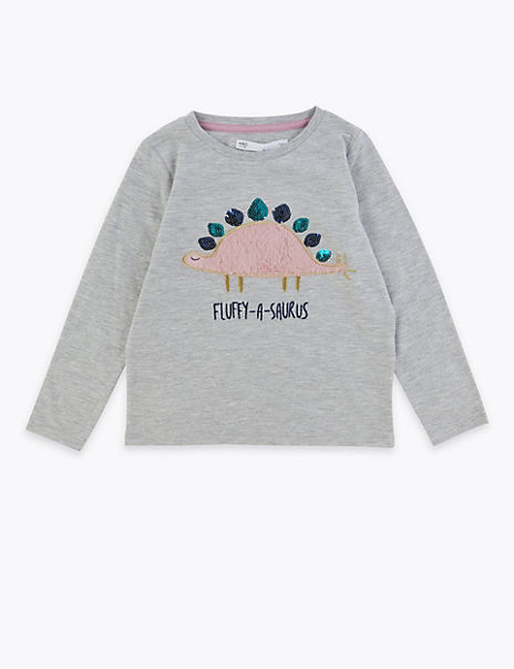 Fluffy Sequin Dinosaur Top (2-7 Years)