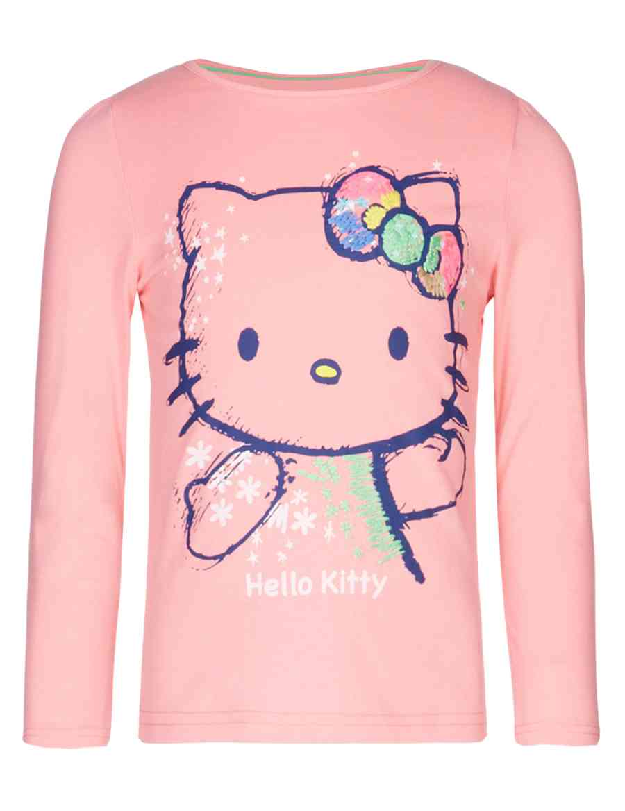 a8ac11661 Hello Kitty Pure Cotton Embroidered T-Shirt (1-7 Years)   M&S