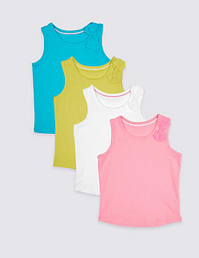 4 Pack Bow Detail Vest Tops (3 Months – 7 Years)