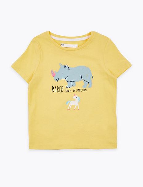 Cotton Rhino & Unicorn Print T-Shirt (2-7 Years)