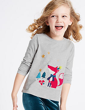 Cotton Rich Fox Long Sleeve Top (3 Months - 6 Years)