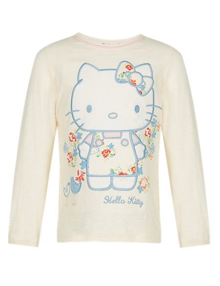 Hello Kitty Pure Cotton Floral Appliqué Girls T-Shirt with StayNEW™ (1-7 Years)