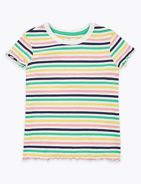 Multicolour Striped Ribbed T-Shirt (2-7 Years)