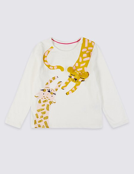 Pure Cotton Leopard Print Top with StayNEW™ (3 Months - 7 Years)