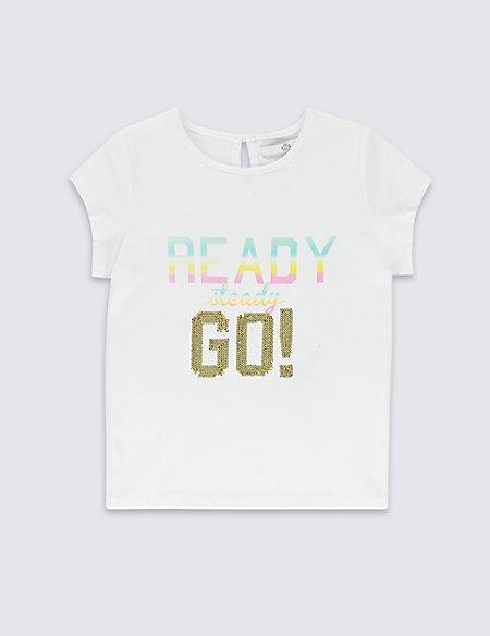 Pure Cotton Ready Steady Go Slogan T-Shirt (1-7 Years)