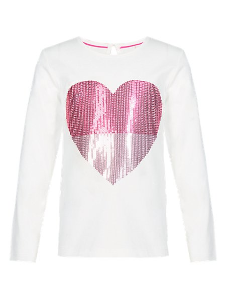 Pure Cotton Glitter Heart T-Shirt (1-7 Years)