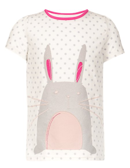 Pure Cotton Spotted Bunny Girls Top (1-7 Years)