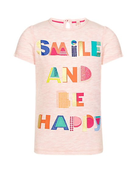 Short Sleeve 'Smile And Be Happy' Slogan Girls T-Shirt (1-7 Years)
