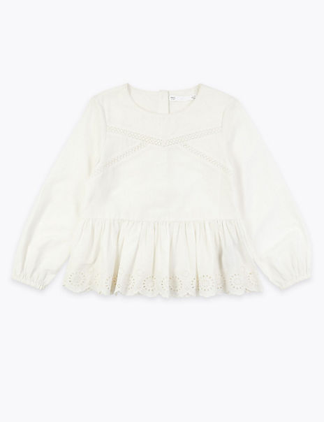 Cotton Broderie Frill Blouse (2-7 Years)
