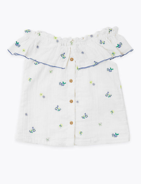 Pure Cotton Floral Embroidered Blouse (2-7 Years)