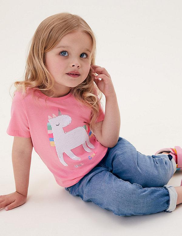 T-shirt 100% coton à motif licorne, ornée de sequins (du 2 au 7ans)
