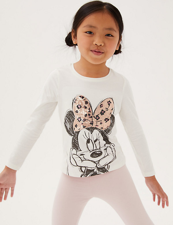 Pure Cotton Sequin Minnie Mouse™ Top (2-7 Yrs)