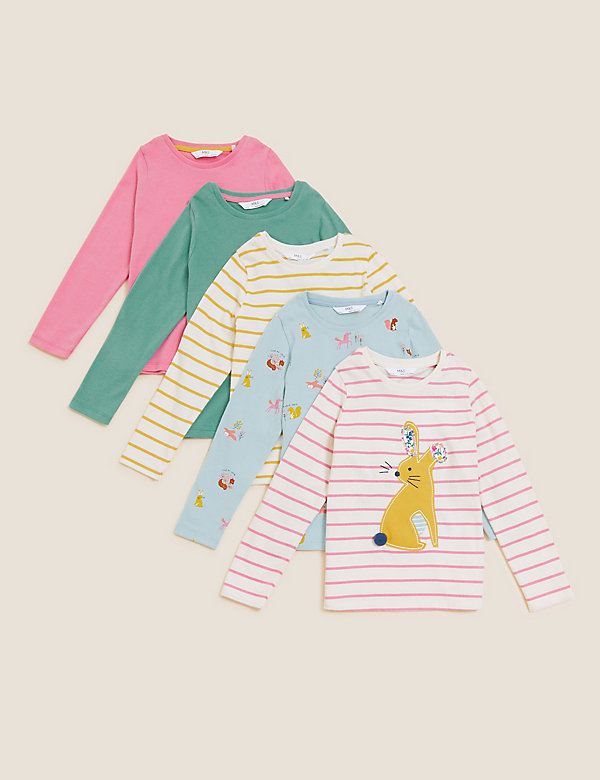 5pk Pure Cotton Patterned Tops (2-7 Yrs)