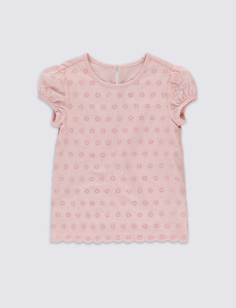 Pure Cotton Broderie Top (1-7 Years)