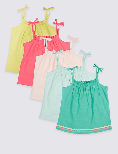 5 Pack Vest Tops (3 Months - 7 Years)