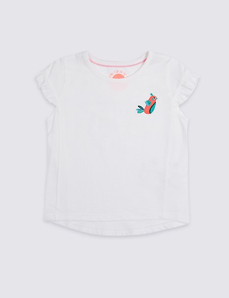 Pure Cotton Frill Sleeve Top (3 Months - 7 Years)