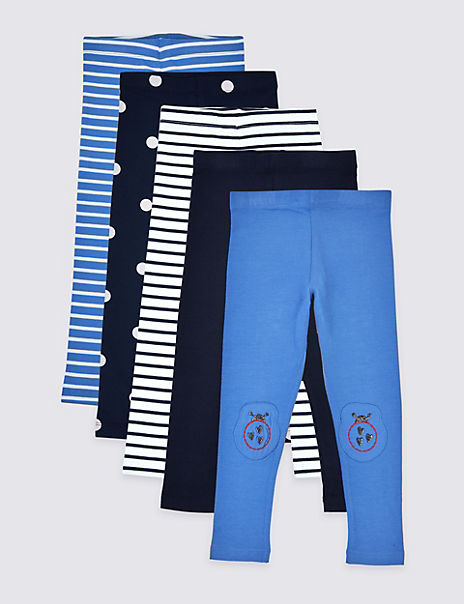 5 Pack Spots and Stripes Leggings (3 Months – 7 Years)