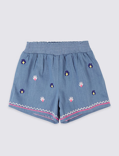 Pure Cotton Embroidered Shorts (3 Months - 7 Years)