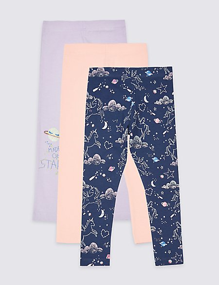 3 Pack Cotton Rich Leggings with Stretch (3 Months - 7 Years)