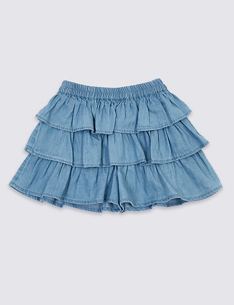 Pure Cotton Chambray Ruffle Ra-Ra Skort (3 Months - 7 Years)