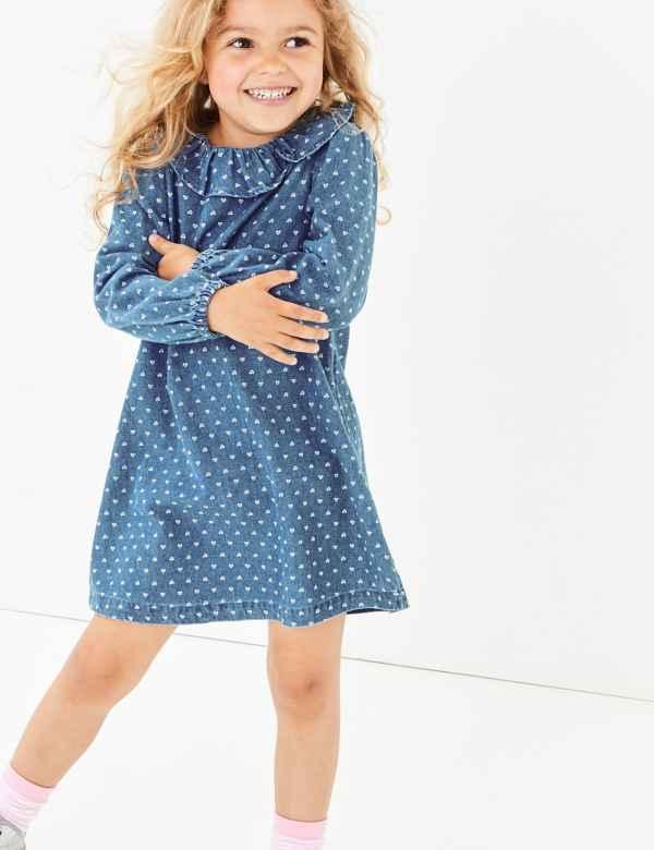 24781ea01bf8c0 Denim Heart Print Dress (3 Months - 7 Years)