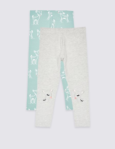 2 Pack Cotton Rich Leggings (3 Months - 7 Years)