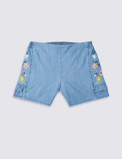 Pure Cotton Embroidered Shorts (3 Months - 7 Years)  f2bd7a5f6f86