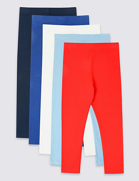 5 Pack Cotton Leggings with Stretch (3 Months - 7 Years)