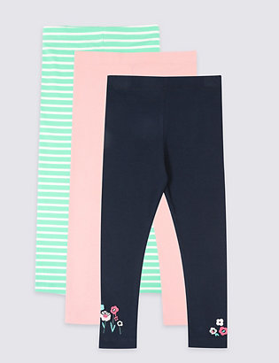 ad45850fc0310 3 Pack Cotton Leggings with Stretch (3 Months - 7 Years)   Leggings ...