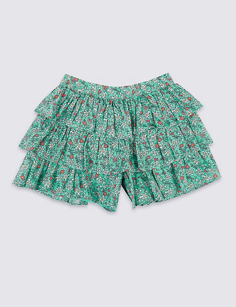 Pure Cotton Floral Tiered Skorts (3 Months - 7 Years)