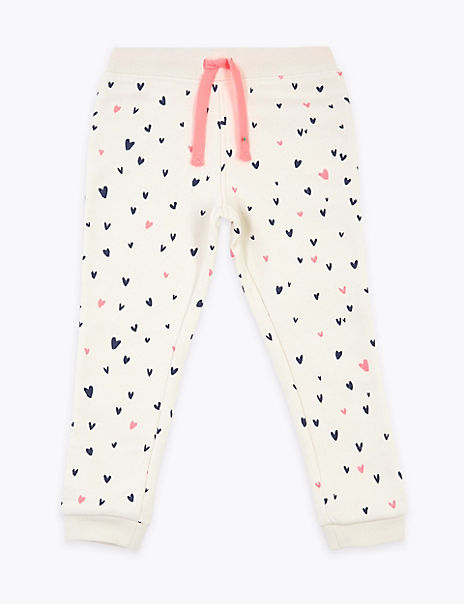 Cotton Rich Heart Print Joggers (2-7 Years)