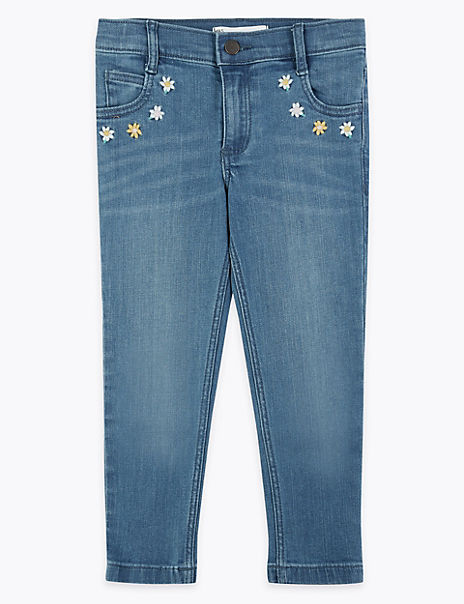 Denim Floral Embroidered Jeans (2-7 Years)