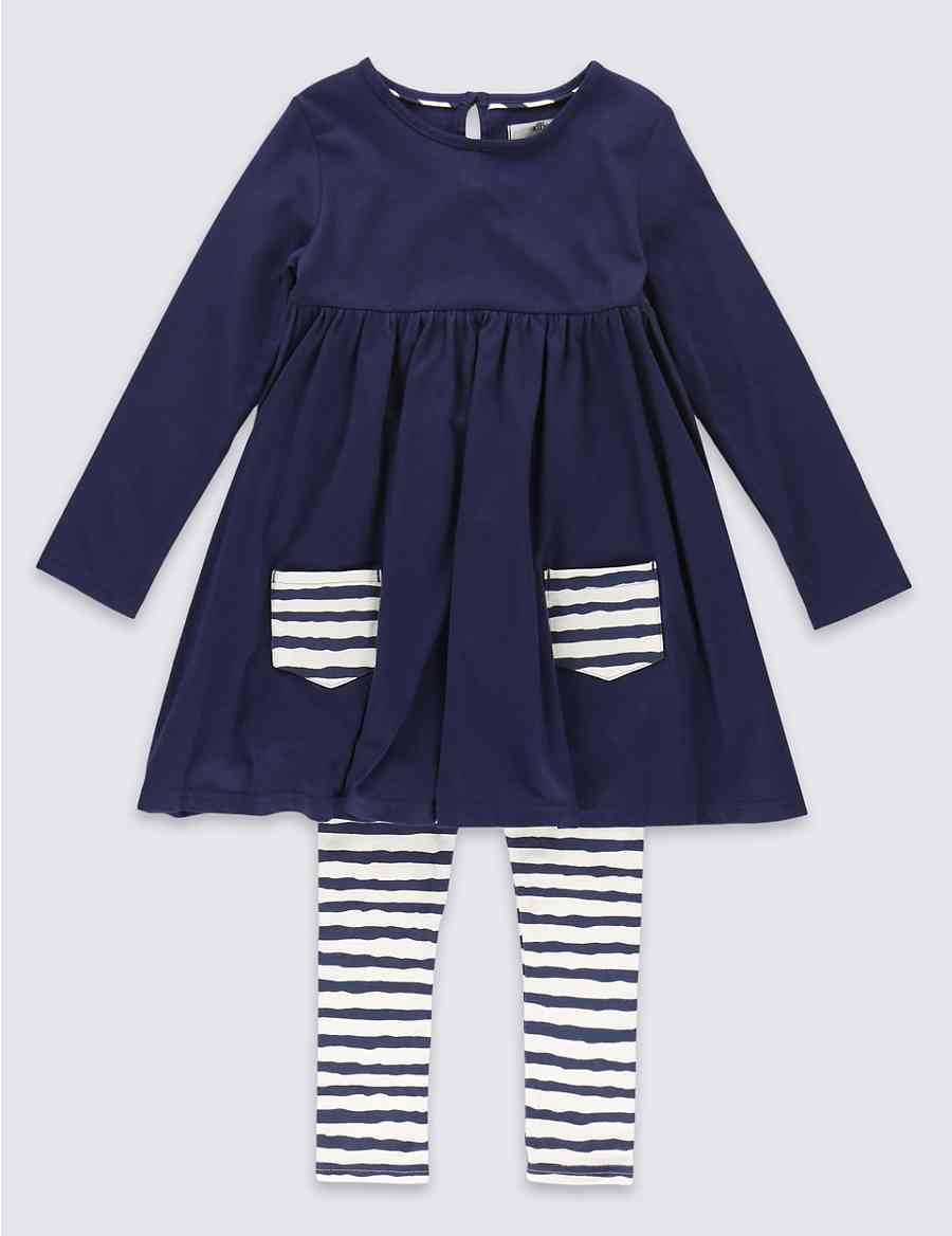 0b7548bca28 Product images. Skip Carousel. 2 Piece Cotton Rich Tunic & Striped Leggings  Outfit ...