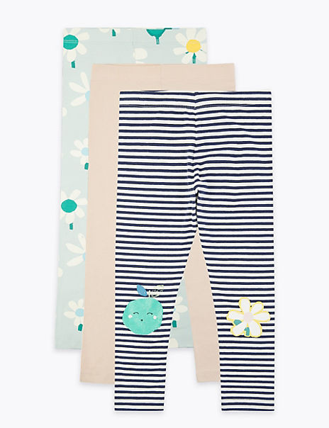 3 Pack Cotton Rich Apple & Floral Leggings (2-7 Years)