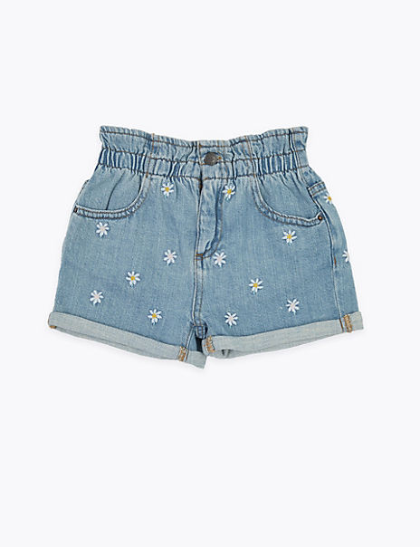 Denim Floral Shorts (2-7 Years)