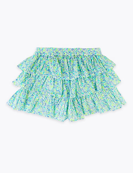 Pure Cotton Floral Ruffled Skorts (2-7 Years)