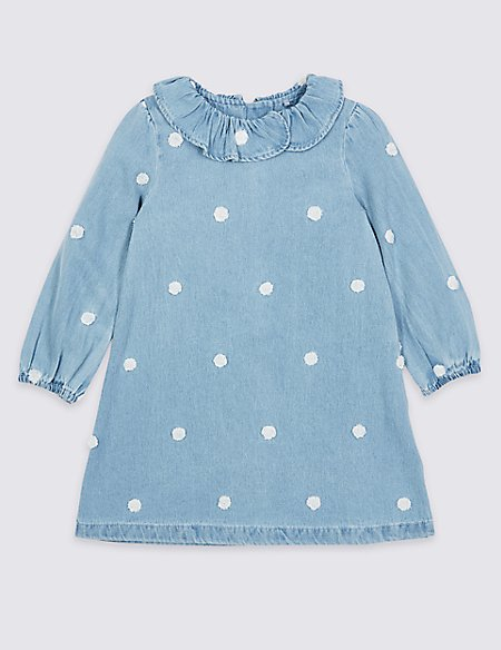 Denim Spotted Dress (1-7 Years)