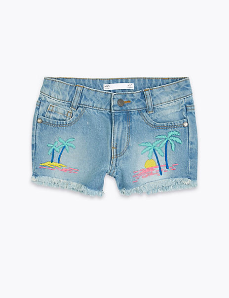 Denim Palm Tree Embroidery Shorts (2-7 Years)
